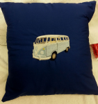 LARGE PERSONALISED EMBROIDERED VW CAMPER VAN THEME CUSHION - Blue